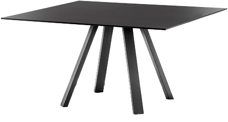 Arki 139x139 - grote vierkante design / vergadertafel met een dun volkern blad en schuine poten