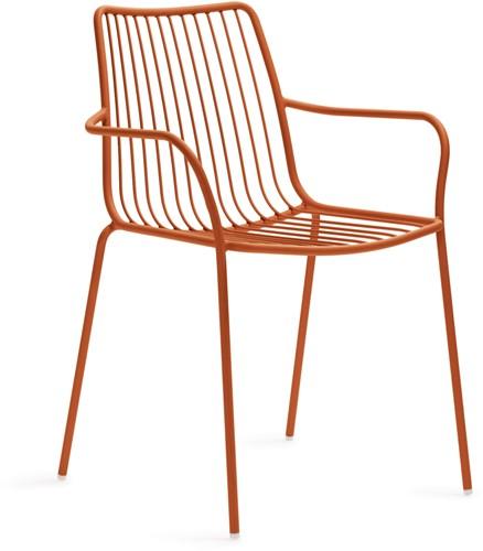 Nolita 3656 - stalen terrasstoel, kantine stoel met armleggers, hoge rug