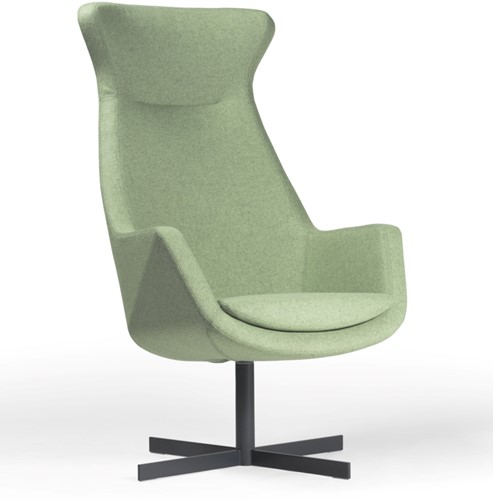 Loïs 3800/2 - gestoffeerde ontvangst / lounge fauteuil op een draaibare kruisvoet