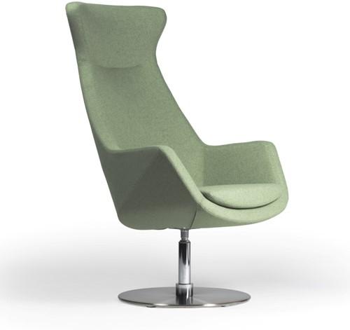 Loïs 3801/2 - gestoffeerde ontvangst / lounge fauteuil op schotelvoet in mat rvs