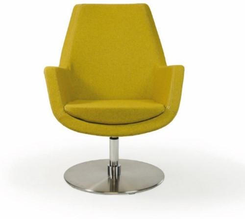 Loïs M 4101/2 - gestoffeerde ontvangst/ lounge stoel op schotelvoet in mat rvs met middelhoge rugleuning
