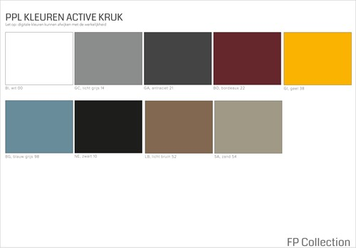 Kleurenoverzicht Active krukken