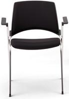 A140-20 - makkelijk koppelbare, 4-poots gestoffeerde design stoel met armleggers, verticaal stapelbaar
