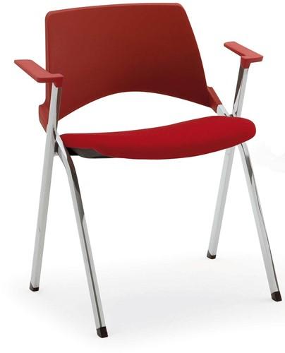 A140-30 - makkelijk koppelbare 4-poots kunststof design stoel met gestoffeerde zitting en armleggers, verticaal stapelbaar