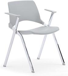 A140 - makkelijk koppelbare 4-poots kunststof design stoel met armleggers, verticaal stapelbaar