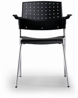A40 Kunststof Armstoel - Budgetstoel met armleggers rug en zitting kunststof, frame chroom-2