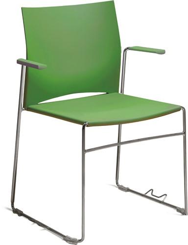 A450 - kunststof zaalstoel met armleggers, goed stapelbaar - FRAME CHROOM - HARDGROEN (VB 6018)