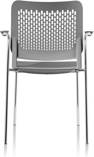 A490 - stapelbare kunststof kantine stoel met armleggers en geperforeerde rug-3