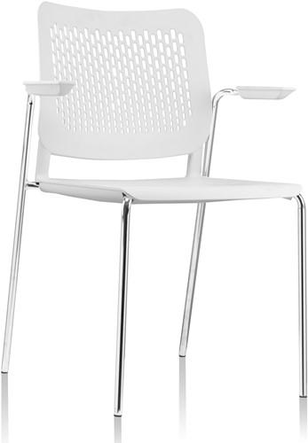 A490 - stapelbare kunststof kantine stoel met armleggers en geperforeerde rug