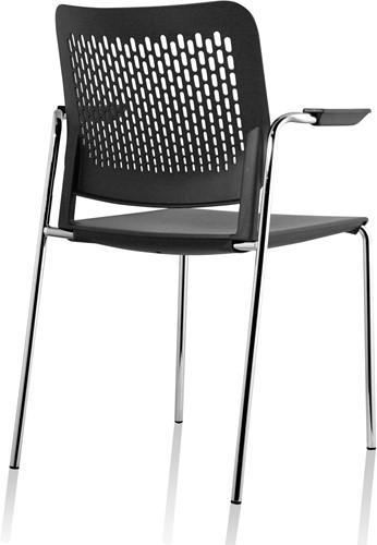 A490 - stapelbare kunststof kantine stoel met armleggers en geperforeerde rug-2