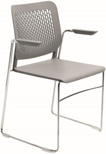 A490-SL - stapelbare slede kunststof zaalstoel met armleggers en geperforeerde rug