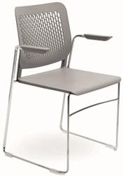 A490-SL - stapelbare kunststof zaalstoel met armleggers en geperforeerde rug