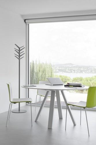 Arki Ronde Tafel - grote ronde design / vergadertafel met een dun volkern blad en schuine poten-3