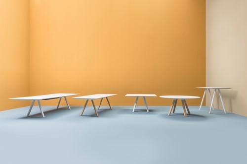 Arki Tafel Wood - design / vergadertafel met een dun volkern blad en schuine houten poten -3