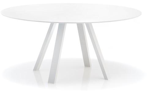 Arki Ronde Tafel - grote ronde design / vergadertafel met een dun volkern blad en schuine poten