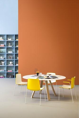 Arki Ronde Tafel - grote ronde design / vergadertafel met een dun volkern blad en schuine poten-2
