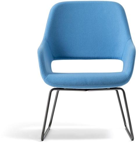 Armfauteuil Babila Comfort 2749 - gestoffeerde loungestoel met metalen slede frame