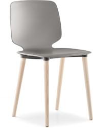 Babila 2750 - kunststof stoel met houten poten. FSC 100% gecertificeerd