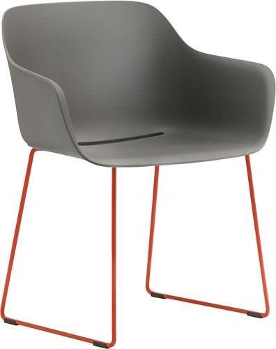 Babila XL 2744-RG - Gerecycled polypropyleen kuipstoel met sledeframe en extra brede zitschaal