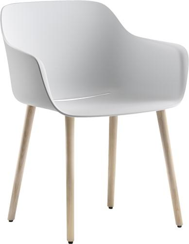 Babila XL 2754 - kunststof kuipstoel met essen houten poten en extra brede zitschaal - FSC 100% (SCS-COC-000652-ADO)