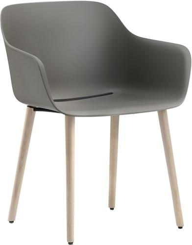 Babila XL 2754-RG - Gerecycled polypropyleen kuipstoel met essen houten poten en extra brede zitschaal - FSC 100% (SCS-COC-000652-ADO)
