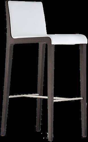 Young 428 - houten design kruk met gestoffeerde voorzijde en rvs voetensteun