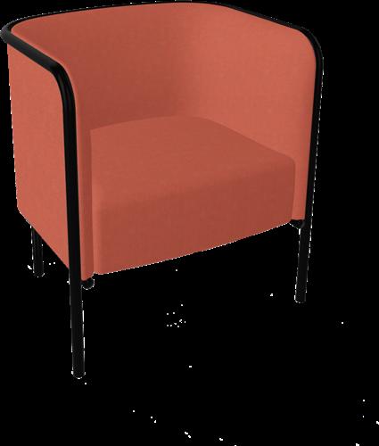 Buddie Small - Wacht- Loungestoel, gestoffeerd met zichtbaar metalen frame