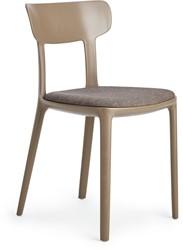 Canova - kunststof design stoel met ronde vormen en een gestoffeerde zitting