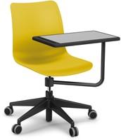 Celis bureaustoel met plankje - kunststof zitschaal in diverse sprekende kleuren met 5 teens verrijdbaar onderstel