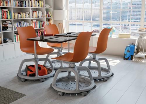 Celis studenten stoel met plankje- kunststof zitschaal in diverse sprekende kleuren met een speciaal verrijdbaar onderstel en schrijfplankje-3