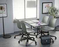 Celis bureaustoel met plankje - kunststof zitschaal in diverse sprekende kleuren met 5 teens verrijdbaar onderstel-2