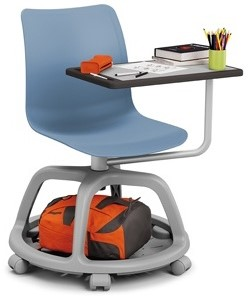 Celis studenten stoel met plankje- kunststof zitschaal in diverse sprekende kleuren met een speciaal verrijdbaar onderstel en schrijfplankje