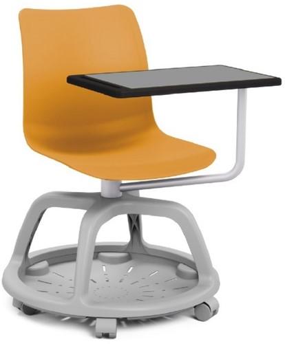 Celis studenten stoel met plankje- kunststof zitschaal in diverse sprekende kleuren met een speciaal verrijdbaar onderstel en schrijfplankje-2