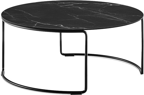 Circuit Low - Ronde salontafel met volkern blad Ø69 en rond doorlopend buisframe h30 cm