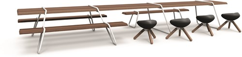 Clip-board picnic - houten picnic tafel met metalen frame-3