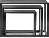Code bijzettafels - salontafeltjes in diverse maatvoeringen met volkern blad en dun vierkant buisframe -2