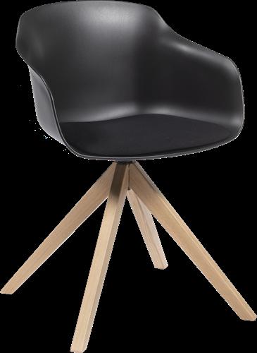 Combo SP/H - Kunststof kuipstoel met gestoffeerde zitting en houten spiderframe