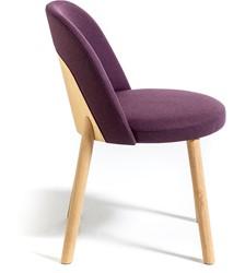 Doc 1049 - Gestoffeerde stoel met een houten poten en een houten rug