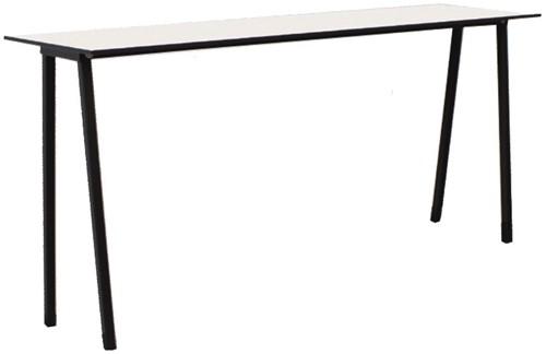 Form Table 75 - speelse smalle (outdoor) tafel met metalen poten en volkern blad