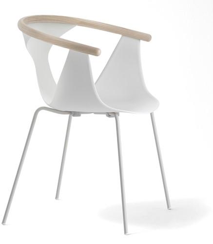 Fox 3726 - elegante stapelbare fauteuil met kunststof kuip en gecoate metalen poten. FSC 100% gecertificeerd