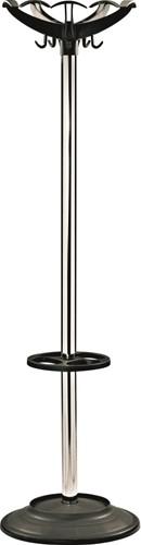 G100 - Kapstok voet en kroon kunststof zwart, buis chroom
