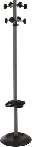 G130 - Kapstok voet en knoppen kunststof zwart, buis alu-grijs gepoedercoat