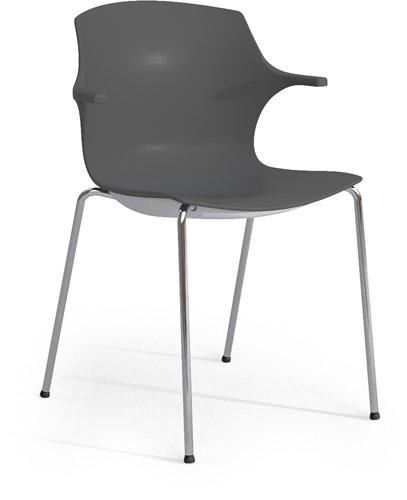 Frill - kunststof kantine stoel, frame wit, kunststof antraciet, stapelplaat antraciet