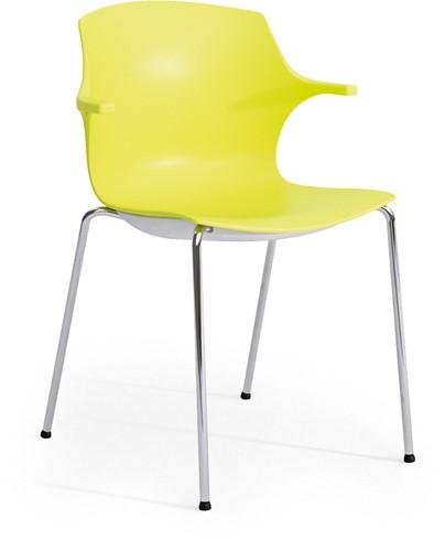 Frill - kunststof kantine stoel, frame wit, kunststof geel, stapelplaat zilver