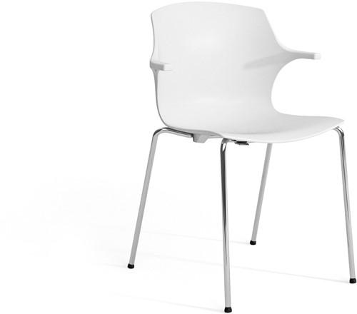 Frill - kunststof kantine stoel, frame wit, kunststof wit, stapelplaat wit