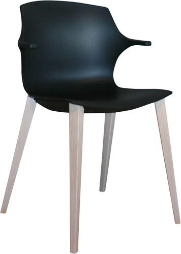 Frill Wood - kunststof stoel met houten frame en armleggers