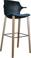 Frill Wood kruk- kunststof kruk met houten frame en armleggers-3