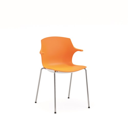 Frill - kunststof kantine stoel, frame antraciet, kunststof oranje, stapelplaat zilver