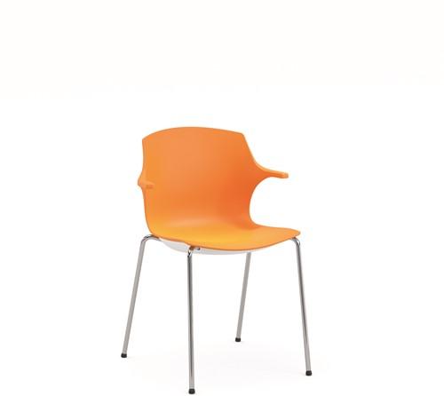 Frill - kunststof kantine stoel, frame wit, kunststof oranje, stapelplaat zilver