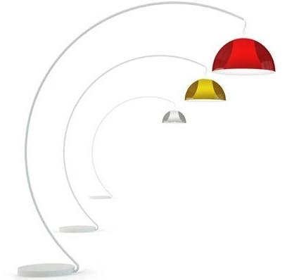 L002T/BA - staande booglamp met half ronde kunststof kap